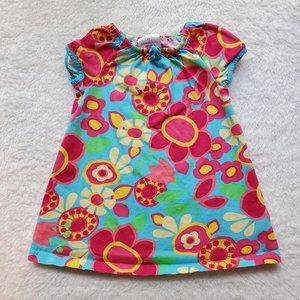 Hanna Andersson Blue Floral Dress 3T 90